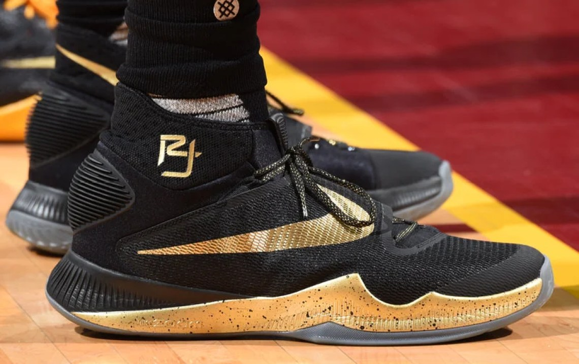CLEVELAND, OH - JUNE 8: The shoes of Richard Jefferson #24 of the Cleveland Cavaliers are seen against the Golden State Warriors during Game Three of the 2016 NBA Finals on June 8, 2016 at The Quicken Loans Arena in Cleveland, Ohio. NOTE TO USER: User expressly acknowledges and agrees that, by downloading and/or using this Photograph, user is consenting to the terms and conditions of the Getty Images License Agreement. Mandatory Copyright Notice: Copyright 2016 NBAE (Photo by Andrew D. Bernstein/NBAE via Getty Images)