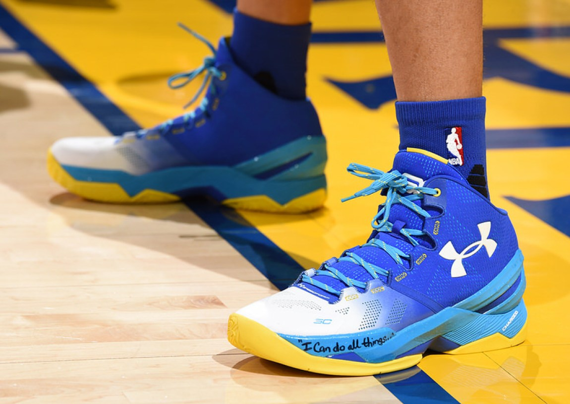 OAKLAND, CA - MAY 26:  The sneakers of Stephen Curry #30 of the Golden State Warriors before the game against the Oklahoma City Thunder in Game Five of the Western Conference Finals during the 2016 NBA Playoffs on May 26, 2016 at ORACLE Arena in Oakland, California. NOTE TO USER: User expressly acknowledges and agrees that, by downloading and/or using this Photograph, user is consenting to the terms and conditions of the Getty Images License Agreement. Mandatory Copyright Notice: Copyright 2016 NBAE (Photo by Andrew D. Bernstein/NBAE via Getty Images)