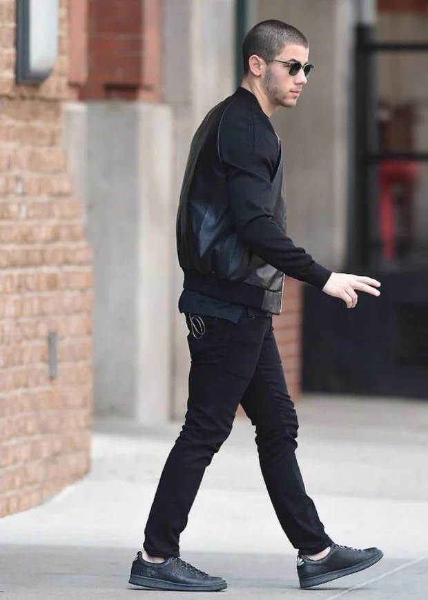 Nick Jonas in the Adidas x Raf Simons Stan Smith Sneakers