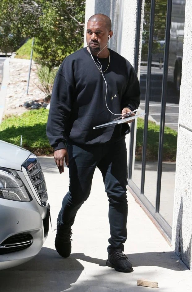 "Kanye West in the adidas Yeezy Boost 350 ""Pirate Black"""