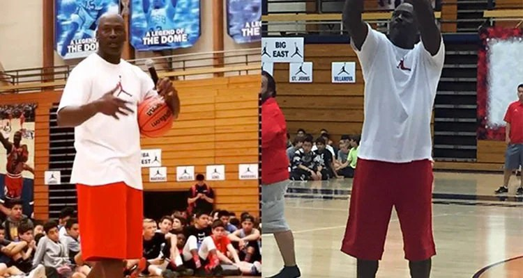 brand new f1c99 5fe2e Michael Jordan Debuts All-Red Air Jordan 11 Low at Flight School Camp