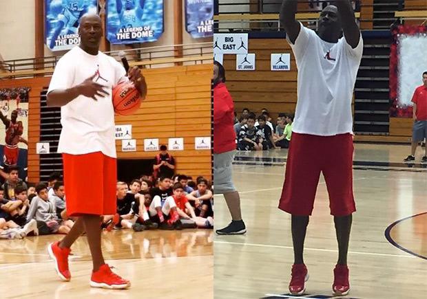 Michael Jordan in a red/gum Air Jordan 11 Low