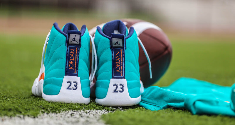 "cheap for discount 2ca0f a1ea7 Air Jordan 12 ""Miami Dolphins"" Custom by Malcom Garret   Elite Touch Ups  ... Nike LeBron 12 Miami Dolphins Turquoise Grey Crimson Black ..."