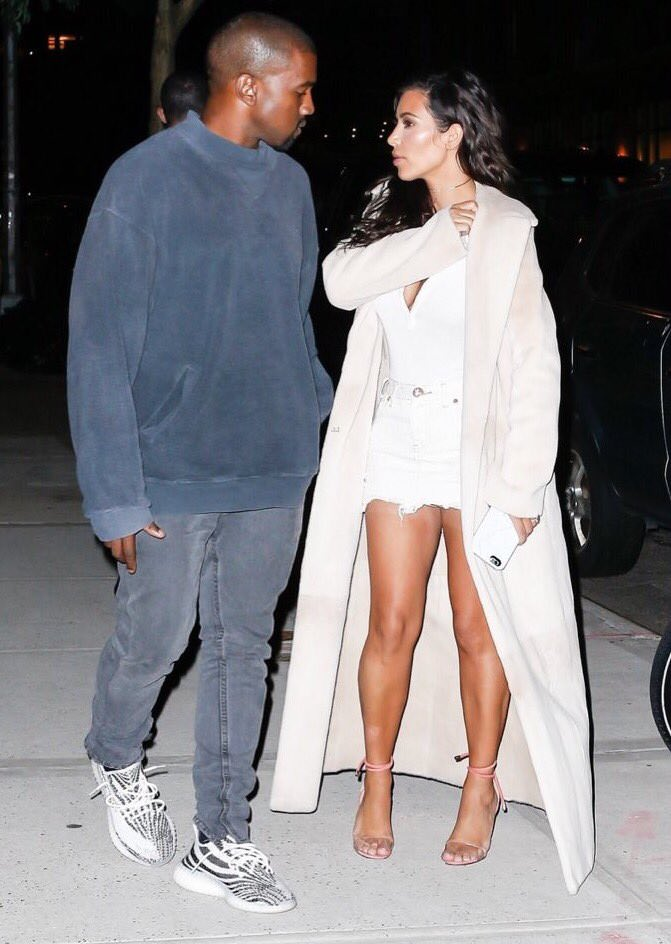 Kanye West in adidas Yeezy Boost 350 V2 Cream/Black