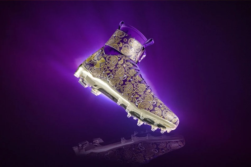 buy popular 7ff21 97529 ... Cam Newton s Prince tribute Under Armour C1N cleats