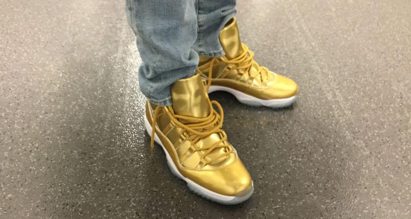 "Kawhi Leonard Debuts ""Gold"" Air Jordan 11 PE"