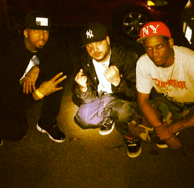 A$AP Yams in the Air Jordan 3 Black/Cement with Wilson Chandler & A$AP Nast