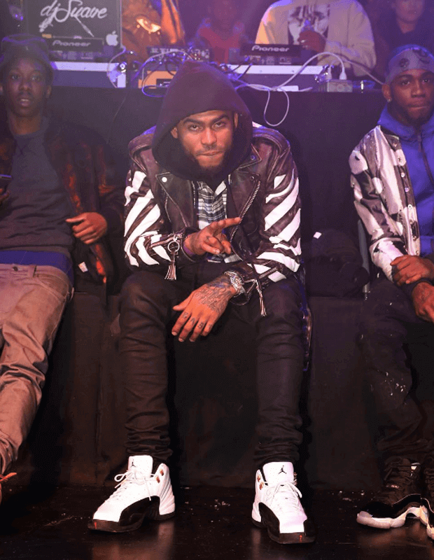 "Dave East in the Air Jordan 12 ""Taxi"""