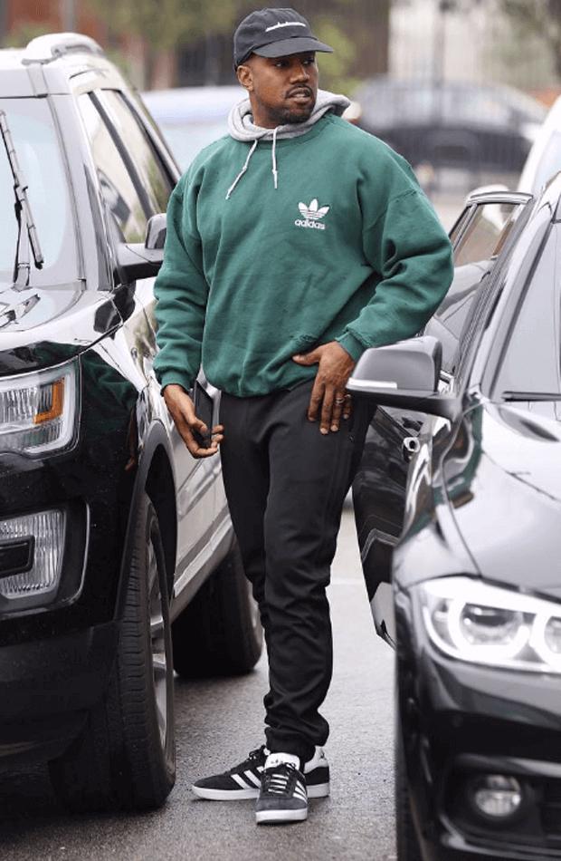 Kanye West in the adidas Gazelle Black/White