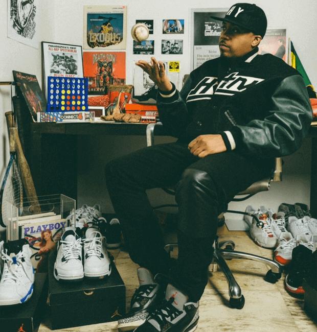 Nas in the Air Jordan 3 Black/Cement