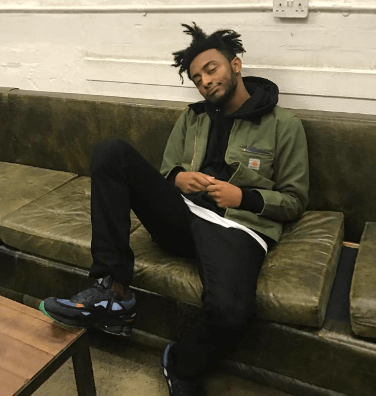 Amine in the Adidas x Raf Simons Ozweego Sneakers