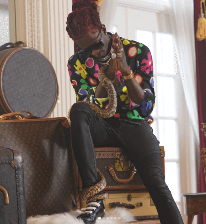 Young Thug in the Adidas x Raf Simons Stan Smith Sneakers