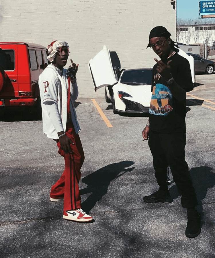 """Lil Yachty in Sang Sneakers and Quavo in the Air Jordan 12 """"OVO"""""""
