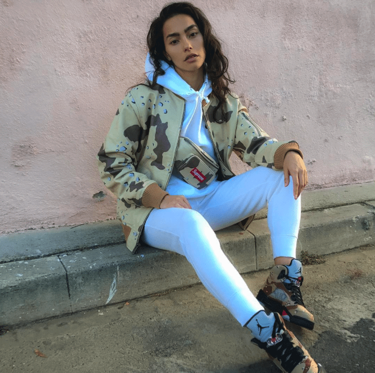 801194897aa26a ... closeout adrianne ho in the supreme x air jordan 5 retro desert 947f4  a5d69