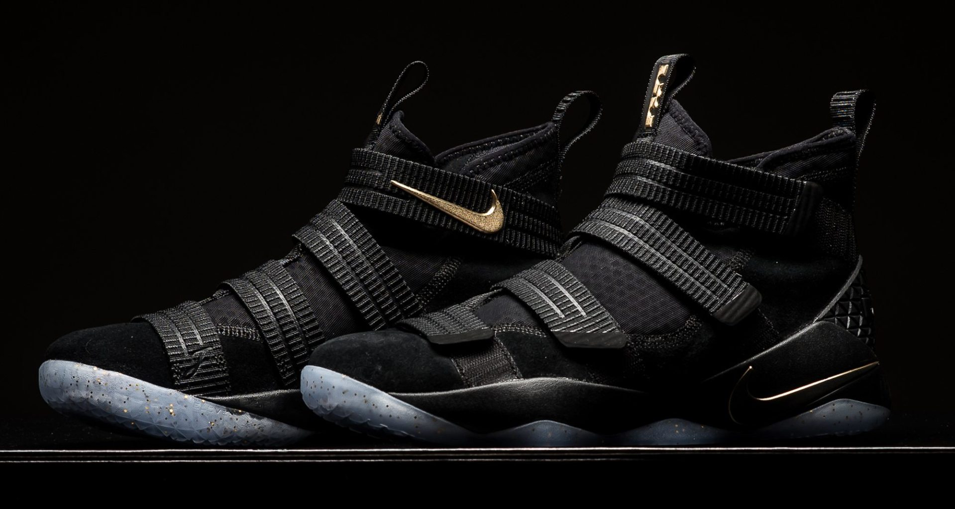 pretty nice 9a202 9dc49 Nike LeBron Soldier 11 SFG Black/Metallic Gold // Available ...