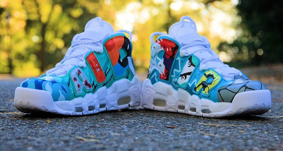 on sale a98c3 4a665 Pop Art Painting Pops Up on Nike Air More Uptempo Custom