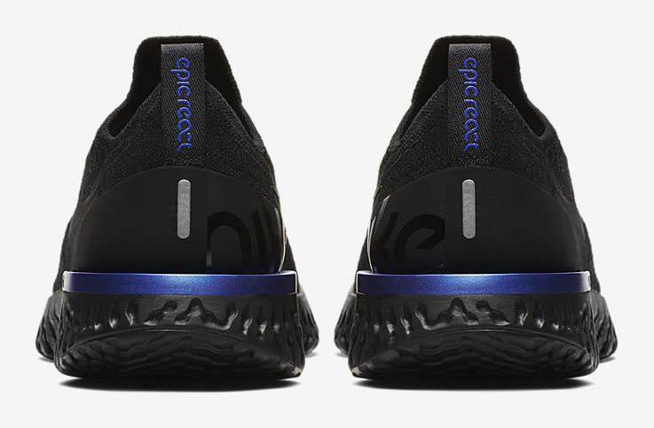 a15680e4e9f46 Nike Epic React Flyknit Black Racer Blue Release Date