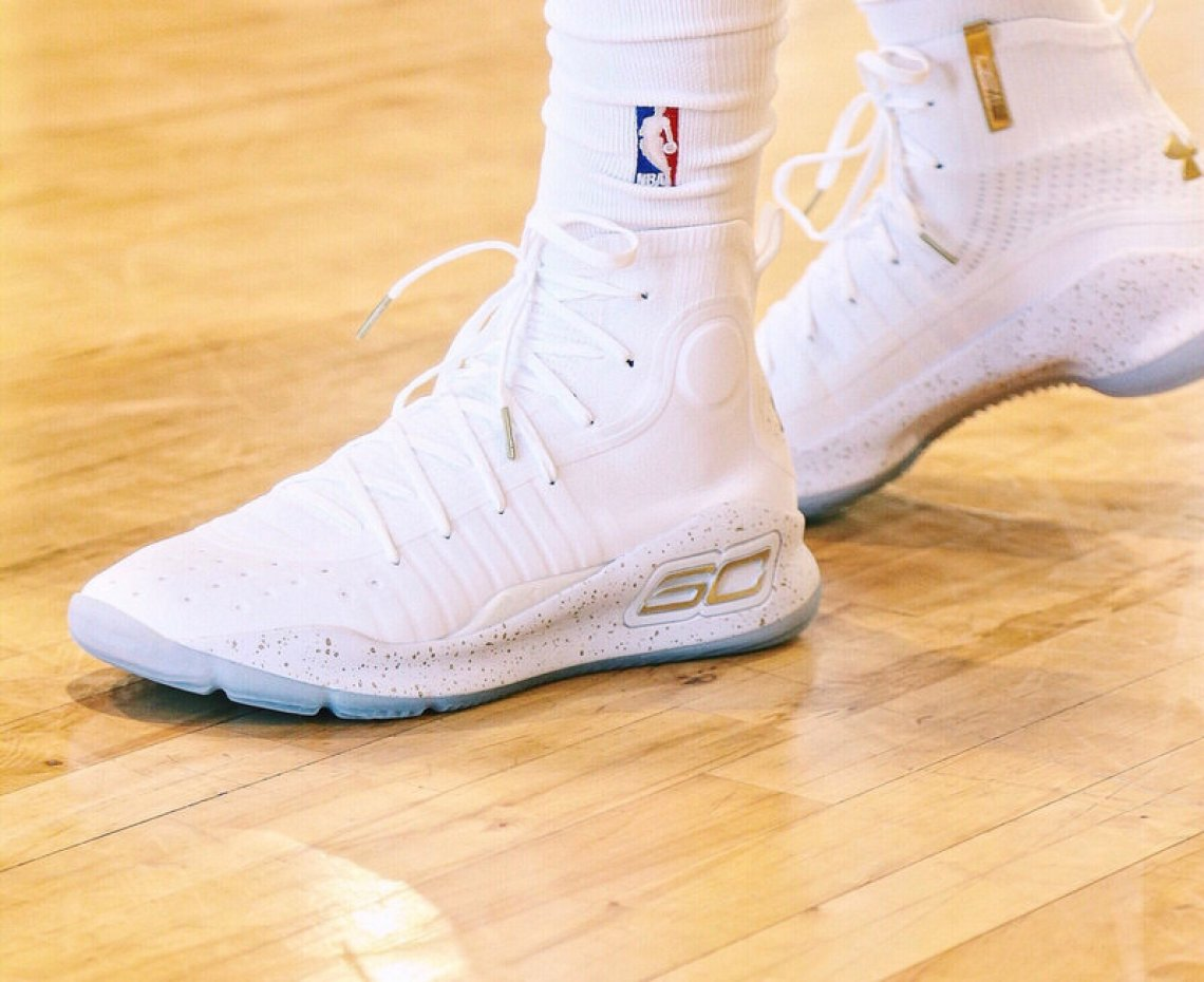 869ff48778448a Stephen Curry took advantage of the 2017 Finals platform to debut his new  Curry 4 in gold accents.