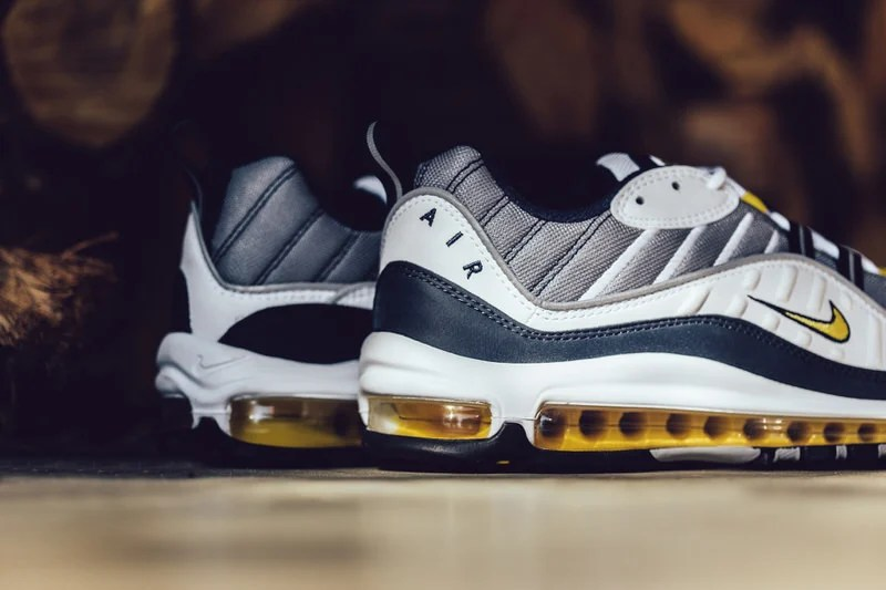 "... Nike Air Max 98 ""White/Tour Yellow/Midnight Navy"" ..."