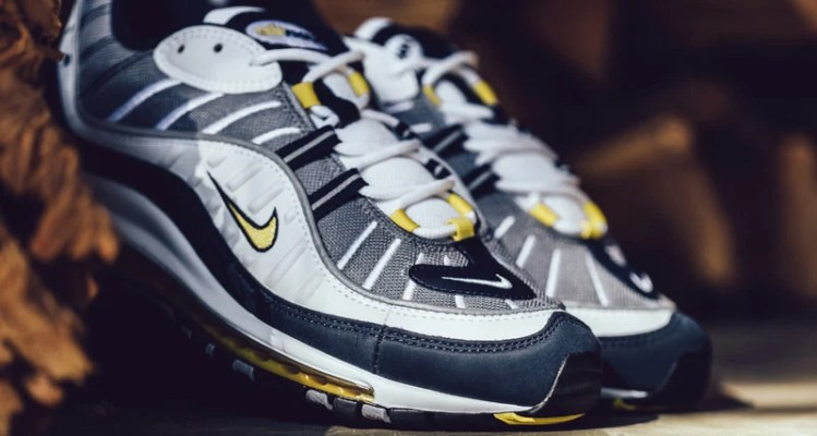 1c20e795695 Nike Air Max 98 White Tour Yellow-Midnight Navy    Release Date