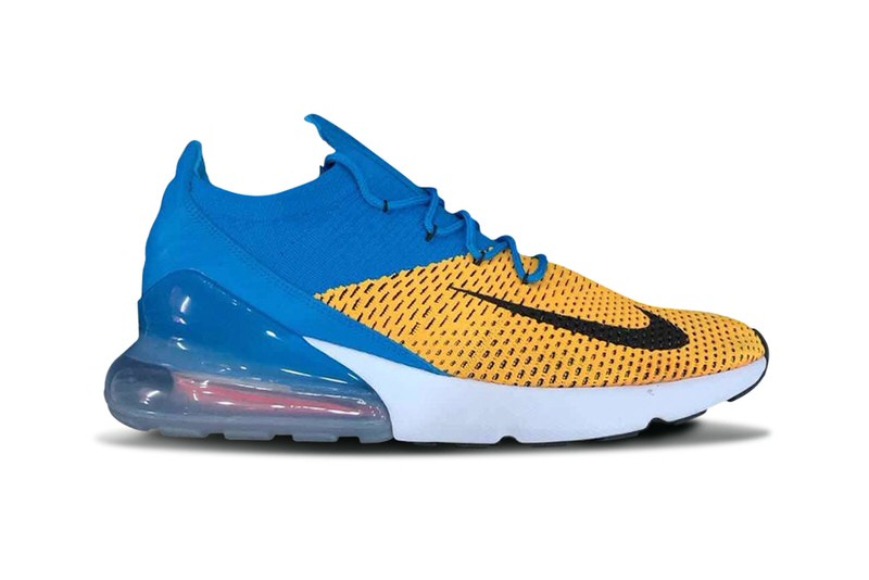 Nike Air Max 270 Flyknit Blue Yellow Release Date Sneaker