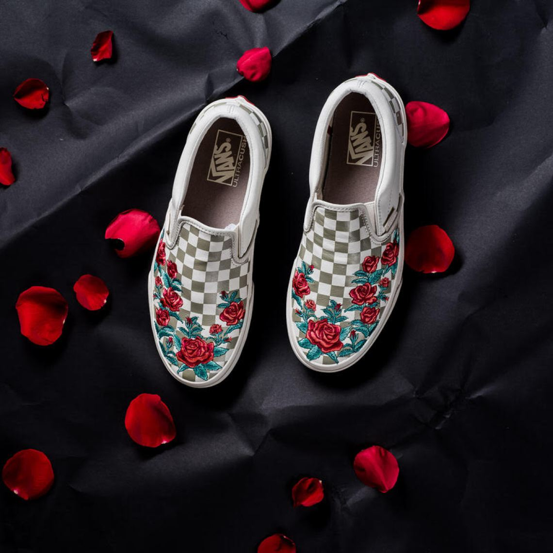 black vans embroidered roses