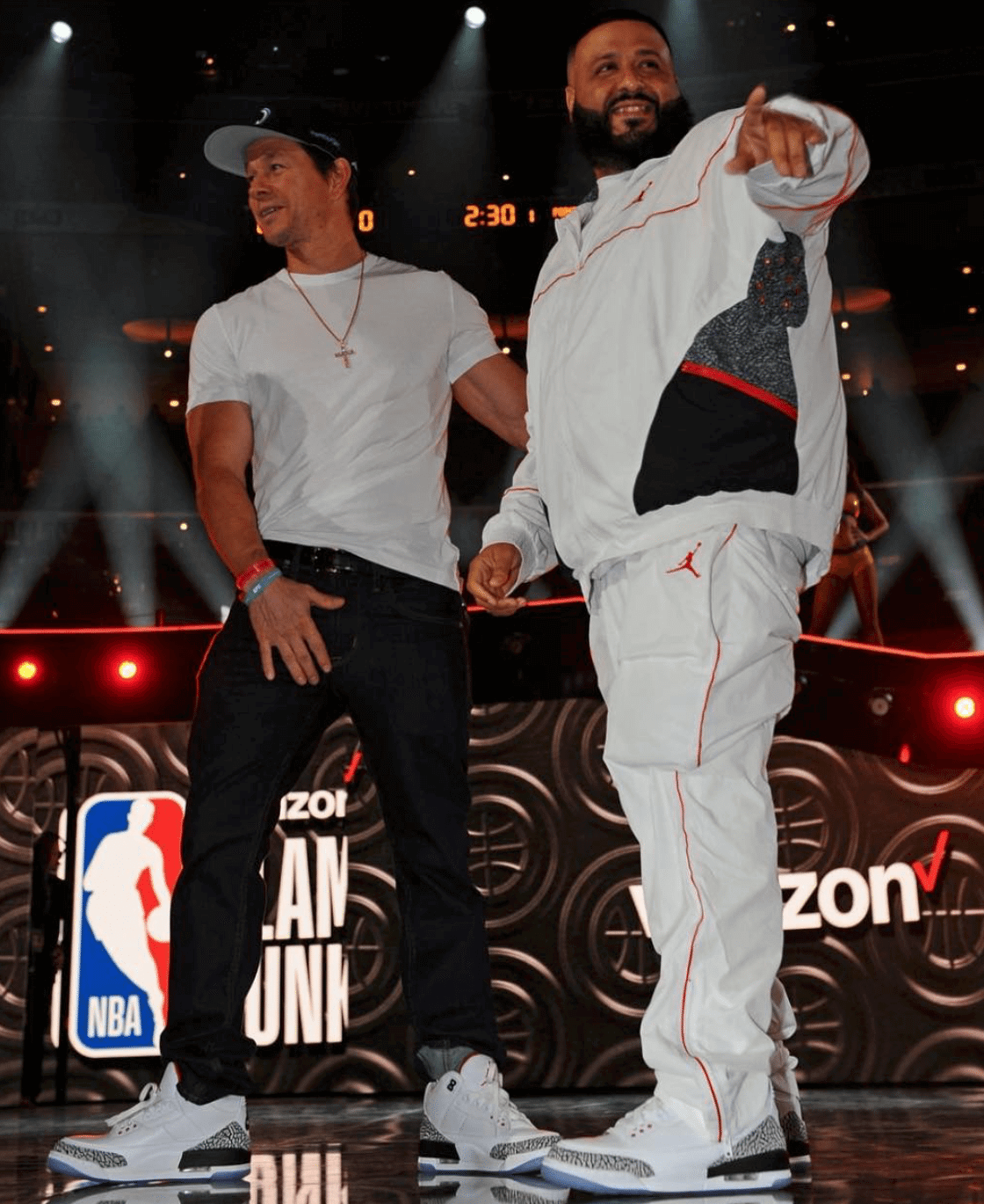 "9316fe798125e8 ... Mark Wahlberg   DJ Khaled in the Air Jordan 3 ""Free Throw Line"" ..."