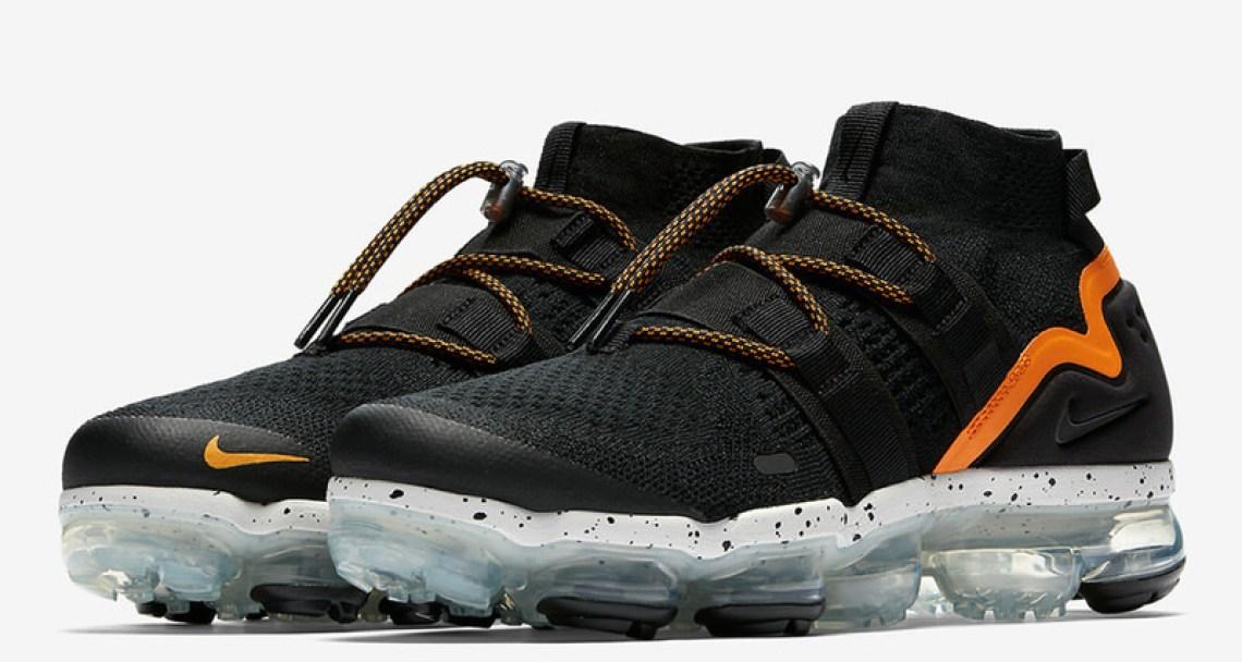 e4af907939b0 Nike Air VaporMax Utlity Black Orange Peel March 2018