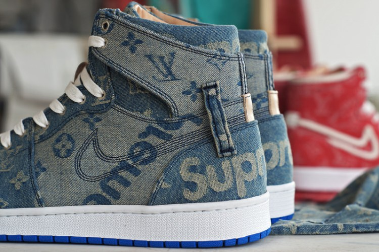 big sale aba60 87da9 Custom Supreme x Louis Vuitton Air Jordan 1 ...