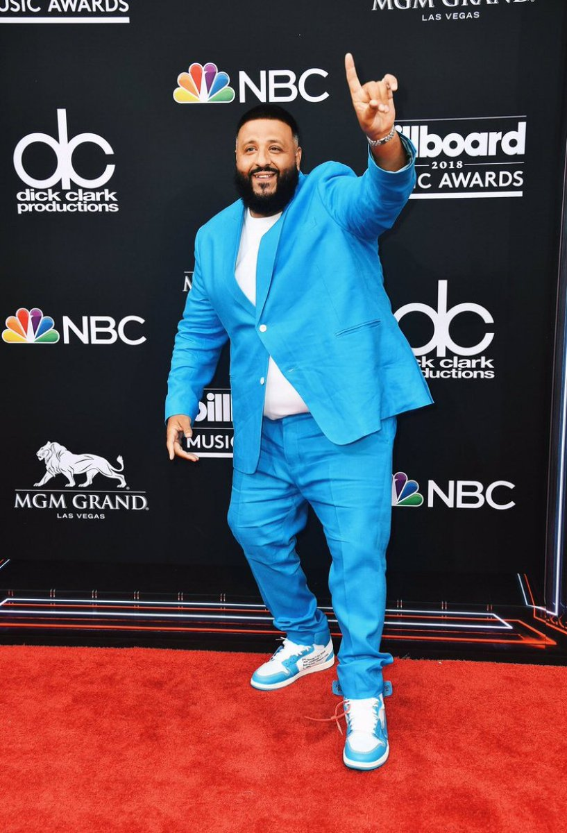 "DJ Khaled in the Off White x Air Jordan 1 ""UNC"""
