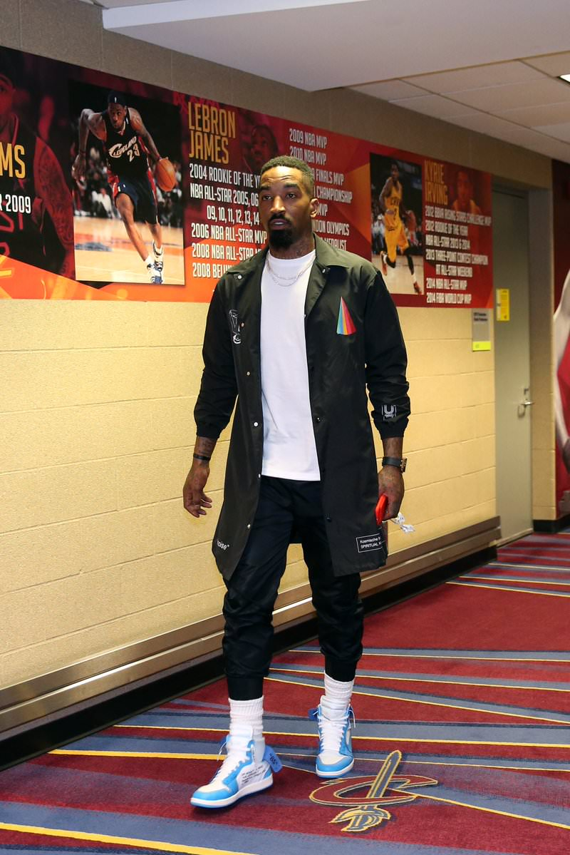 JR Smith in the Off-White x Air Jordan 1