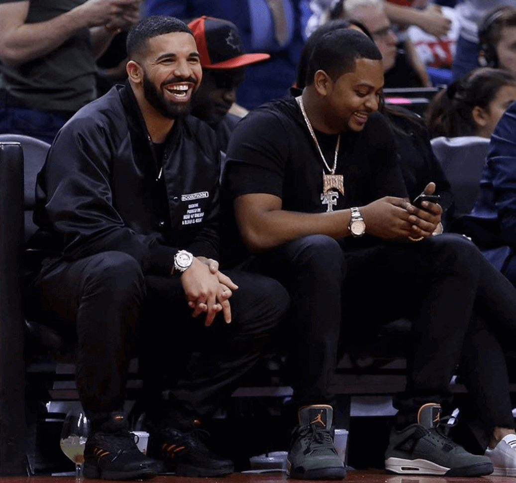 Drake in the adidas Clima Cool 2.0 & Chubb in the Undefeated x Air Jordan 4 Retro