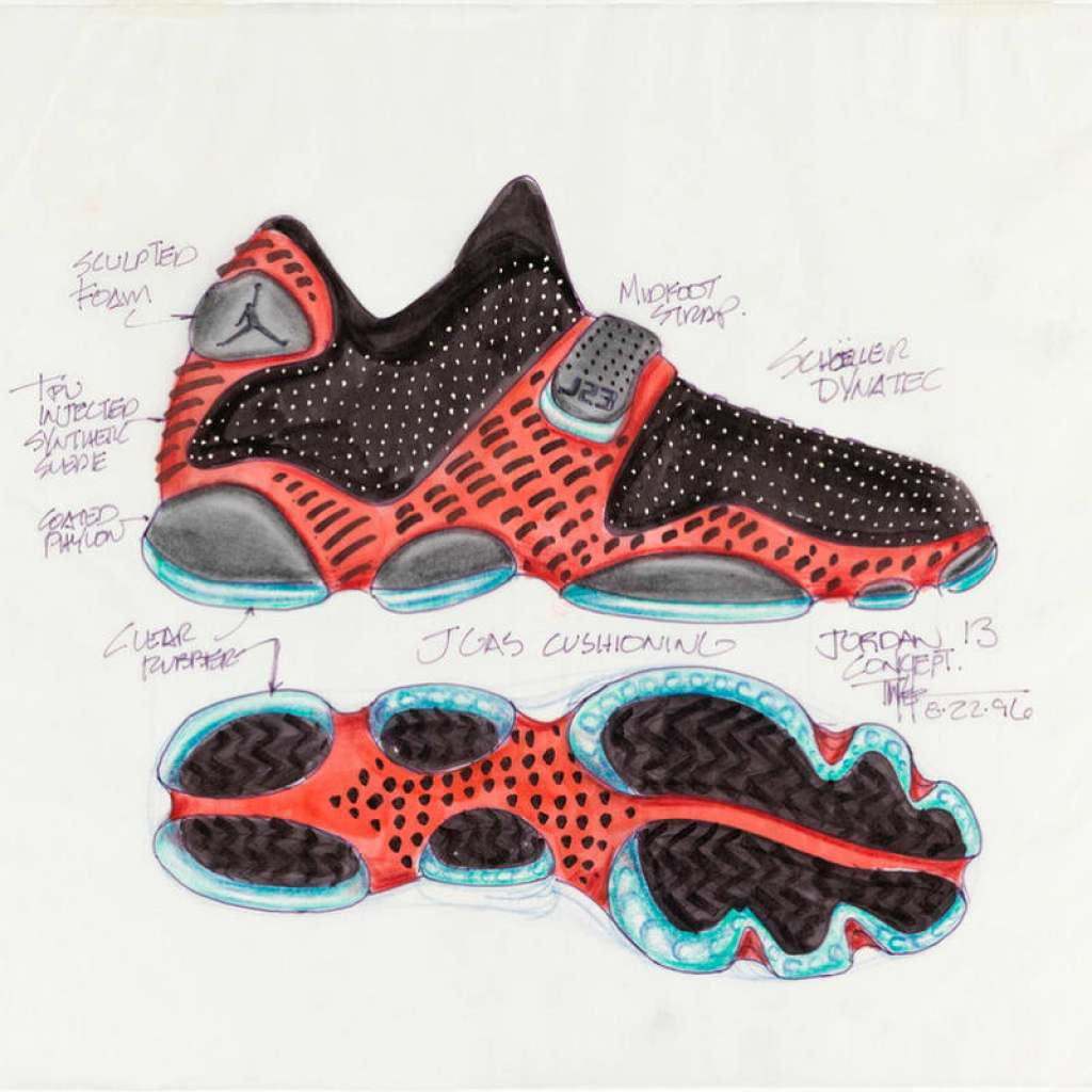 bbf06f69092f3 Tinker Hatfield s Original Air Jordan 13 Sketch Releasing Later This ...