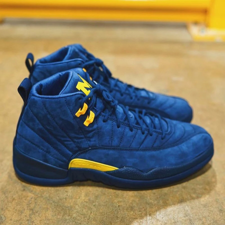 """b60a489d70a Rumors peg the Air Jordan 12 """"Michigan"""" to release on June 23rd, with the  retail price of $225. Preview this collegiate colorway in images via  @Pinoe77 ..."""