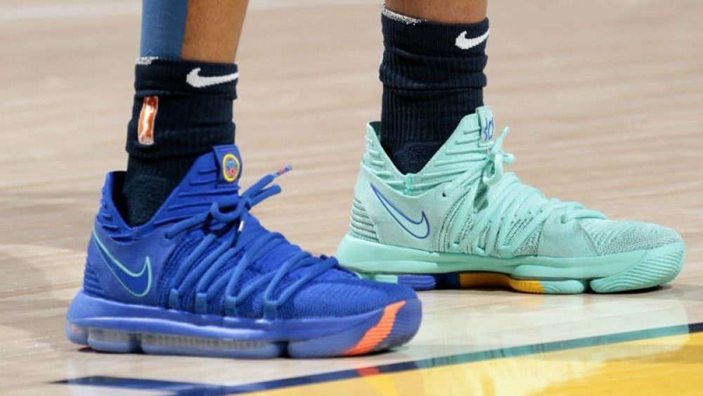 "... Victoria Vivans in a mismatched Nike KD X ""City Edition"" ... 886f3a211"