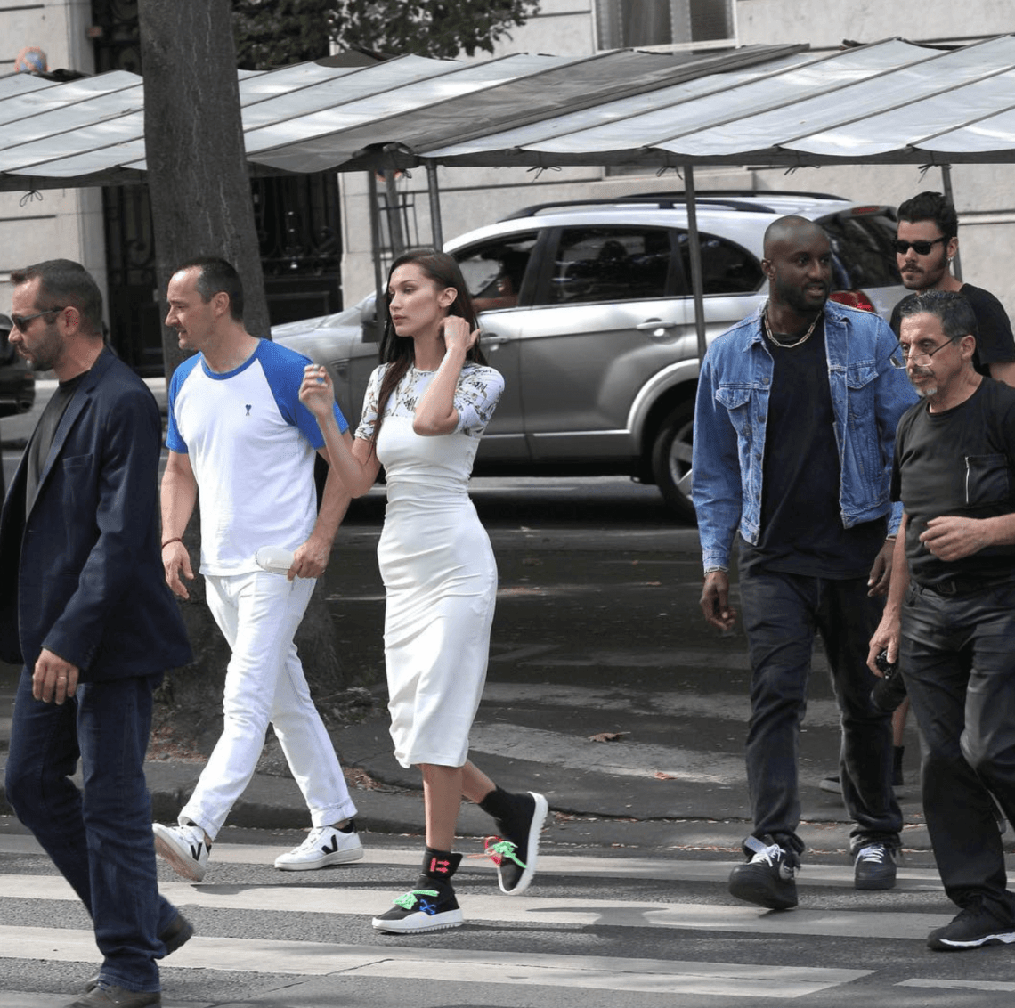 Bella Hadid in the Off White Sneakers & Virgil Abloh in the Off White x Nike Air Force 1 Low
