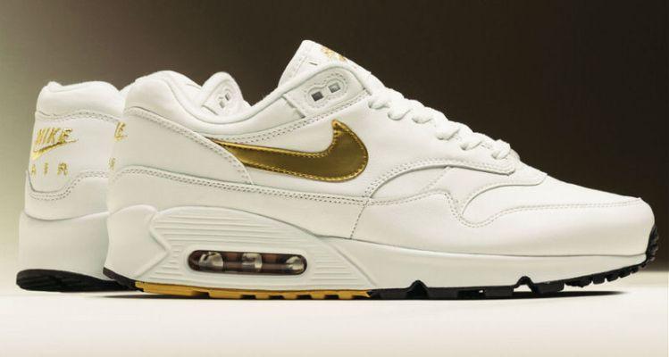 """check out a933b 8b17d Nike Air Max 90 1 """"White Metallic Gold"""""""