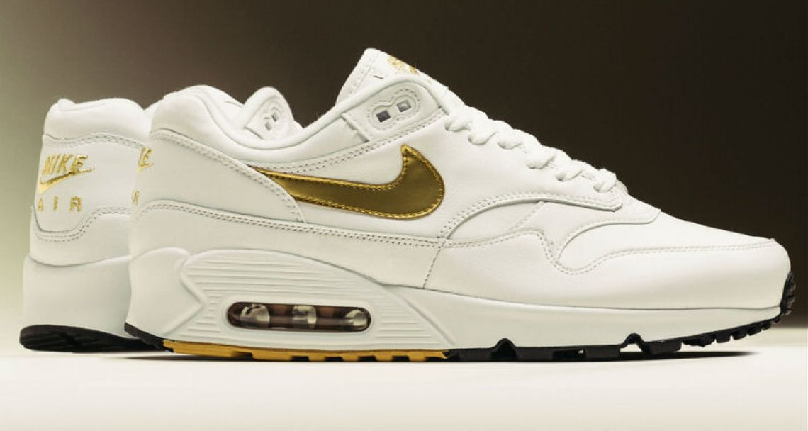 "outlet store 9e670 ed5ec Nike Air Max 90 1 ""White Metallic Gold""    Release Date"