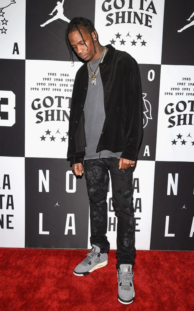 "5f8fdc85937 Worn by Travis Scott in '04 form at the 2017 JB All-Star party, photos of  2019 samples remain unseen at this moment. The Air Jordan 4 ""Cool Grey"" ..."