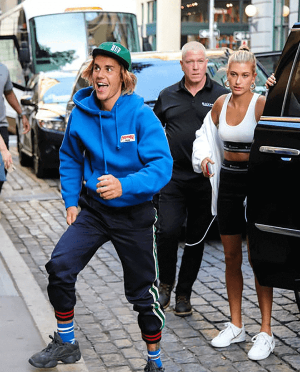 """Justin Bieber in the adidas Yeezy 500 """"Utility Black"""" & Hailey Baldwin in the adidas Continental 80"""