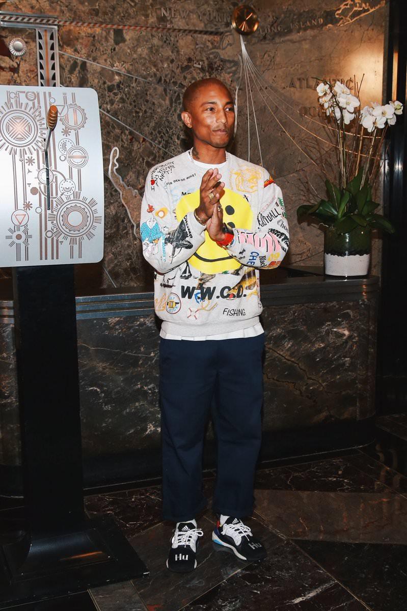 Pharrell Williams in the Pharrell Williams x adidas Solar Boost Glide ST