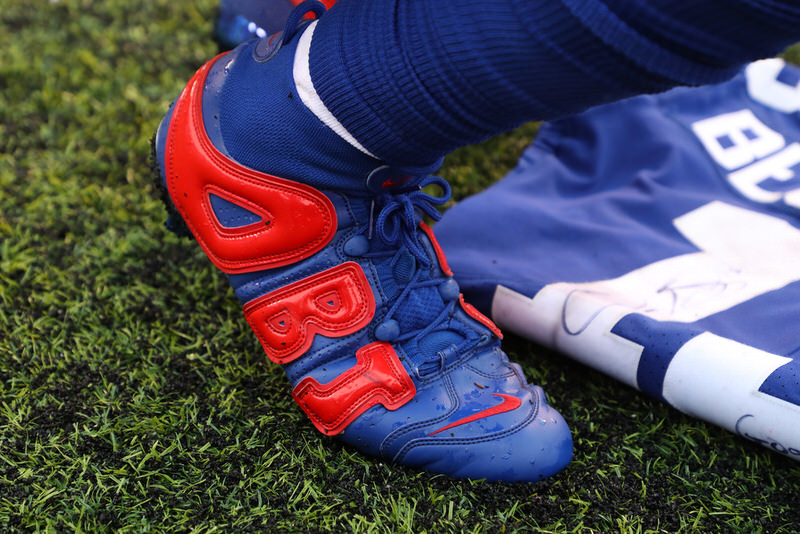 ca6b95b8c aliexpress odell beckham jr. debuts bright lights nike obj uptempo cleats  b9703 36755; where to buy dallas cowboys supreme x nike air more uptempo  cleat pe ...
