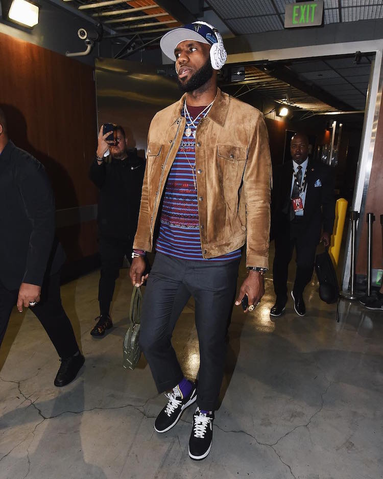 Lebron James in the Supreme x COMME des GARCONS x Nike Air Force 1 Low