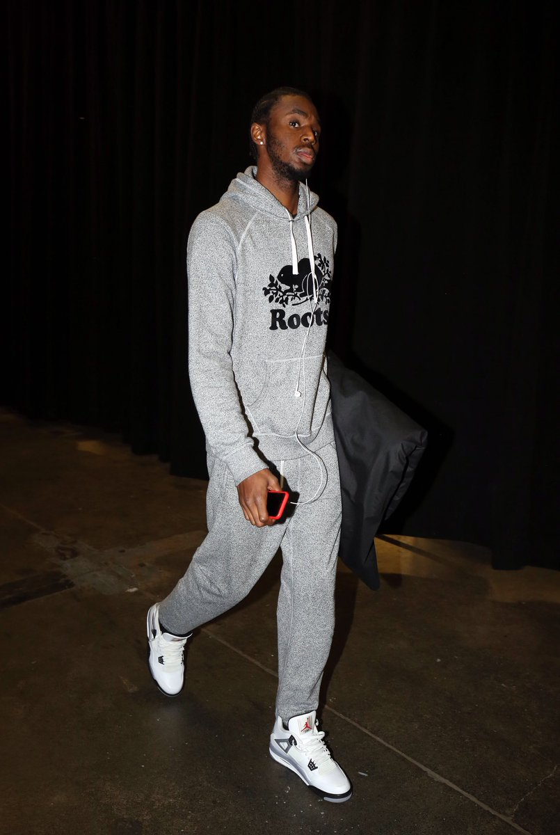 """Andrew Wiggins in the Air Jordan 4 """"White Cement"""""""