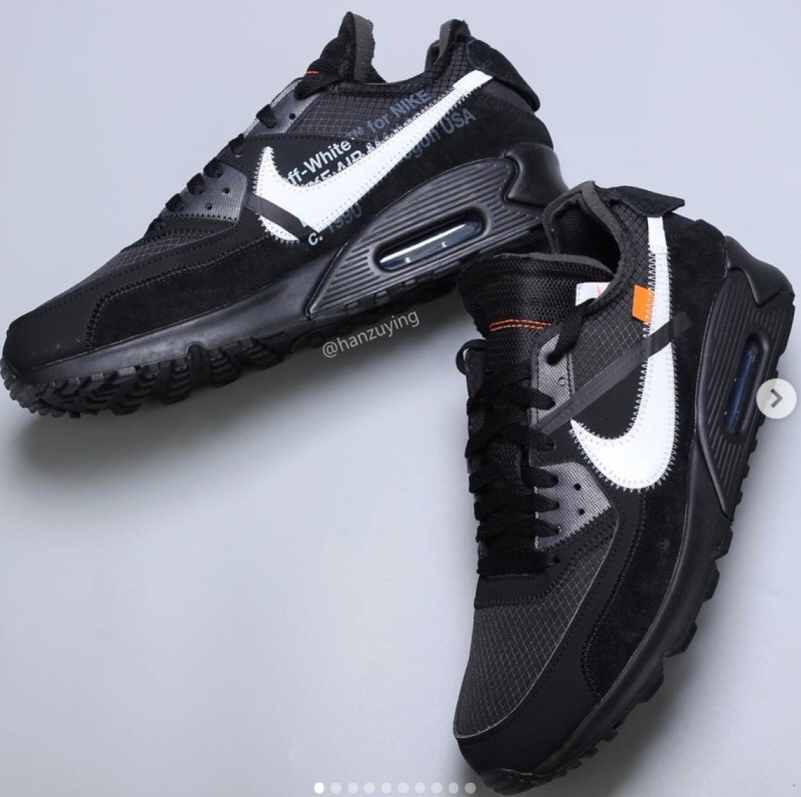 """9bf50714 The new Off White x Nike Air Max 90""""Black"""" shares the same deconstructed  upper, set off by an oversized white Swoosh as revealed by HanZuYing."""