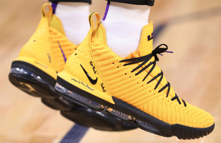 "Nike LeBron 16 ""Yellow"" PE via @Lakers"
