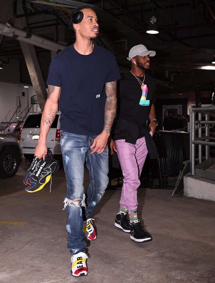 "Gerald Green in the Pharrell Williams x BBC x adidas Human Race NMD & Chris Paul in the Nike Air Force 1 Low ""NYC"""
