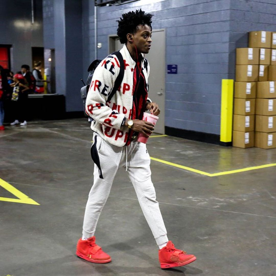"De'Aaron Fox in the Nike Air Yeezy 2 ""Red October"""