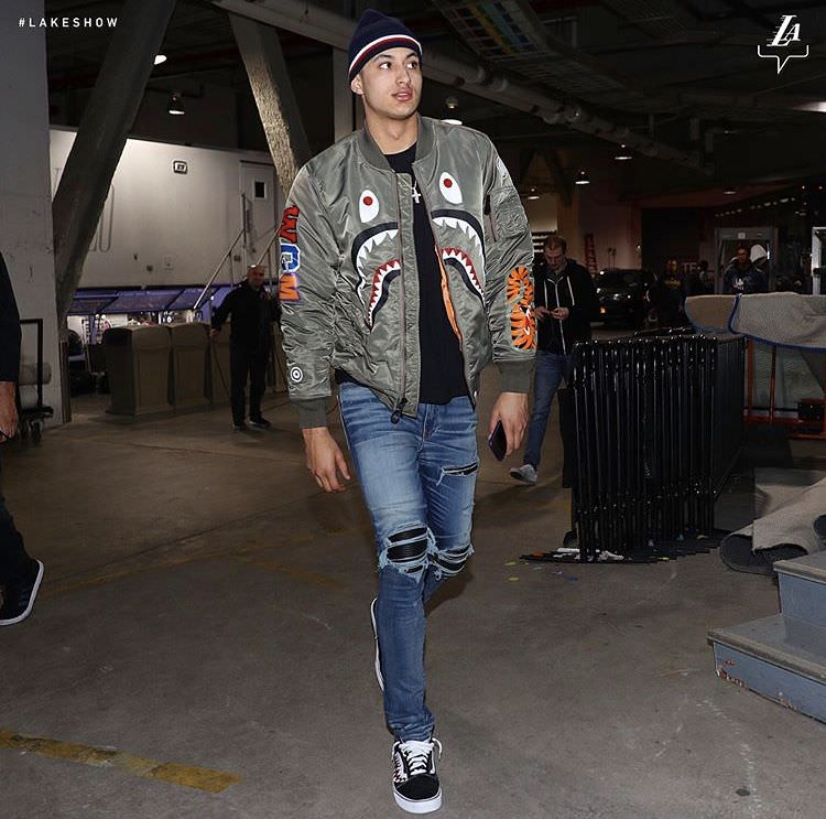 Kyle Kuzma's custom Vans Old Skools were made to match his BAPE flight jacket accordingly.