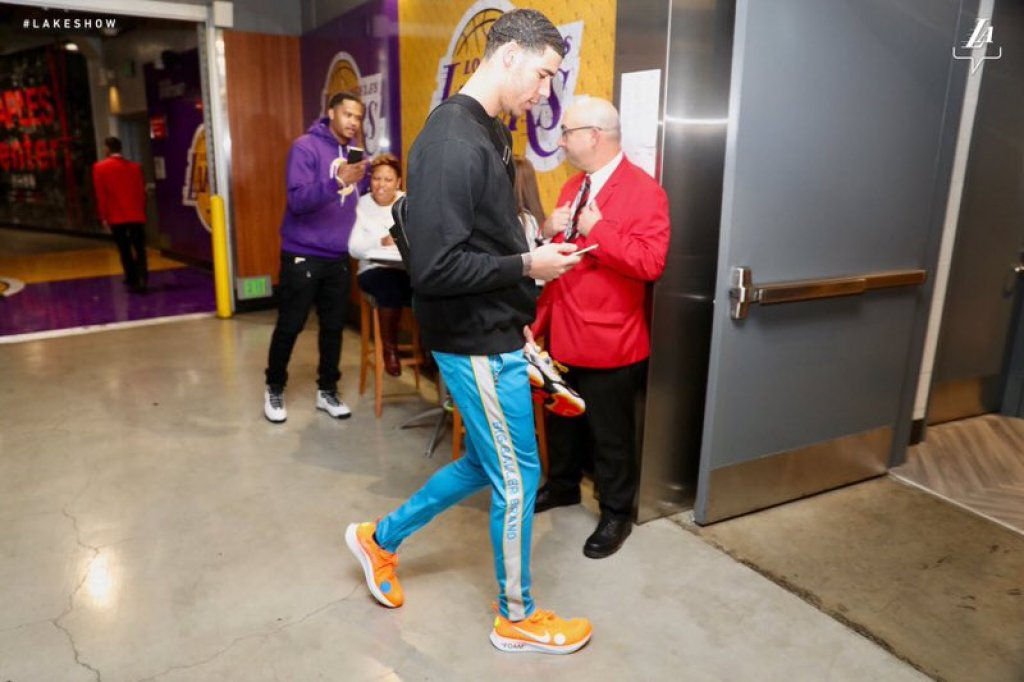 Lonzo Ball in the Off White x Nike Zoom Fly Mercurial